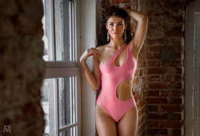 women, Mihail Gerasimov, window, monokinis, brunette, bricks, armpits, pier ...