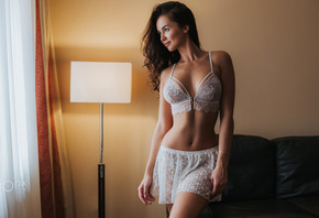 women, Fotoshi Toshi, Anton Harisov, white lingerie, belly, tanned, lamp, looking away, couch