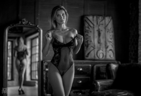 women, Mihail Gerasimov, black lingerie, boobs, nipples, monochrome, mirror ...