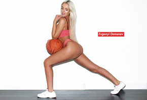 women, ball, ass, tanned, blonde, sneakers, long hair, pink lingerie, Evgen ...