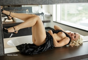 dress, Guenter Stoehr, chest, shoes, makeup, hairstyle, naked, legs, black, ...