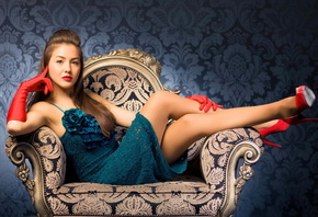pose, look, face, hair, makeup, girl, red gloves, chair, heels, dress, red  ...