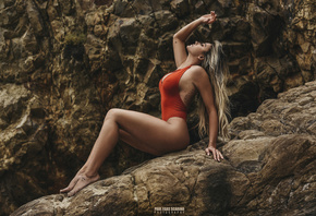 Amber Nichole Miller, women, Paul Egas Scarino, tanned, blonde, sitting, one-piece swimsuit, tattoo, closed eyes, nipple through clothing