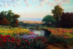 flowers, picture, oil, art, trees, lake, Eric Wallis, meadow, the sky, land ...