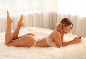 women, Dmitry Arhar, blonde, ass, in bed, women with glasses, cellphone, ly ...