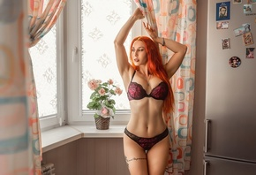 women, lingerie, belly, redhead, window, tattoo, plants, brunette, necklace, armpits, arms up