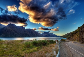 earth, clouds, mountains, nature, road, lake, water, greens, clouds, the sky, grass, river, landscape