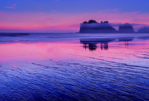 reflection, shore, Washington, pink, the evening, water, blue, clouds, the sky, rocks, sunset, The Pacific ocean, USA