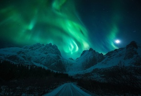 light, snow, mountains, winter, Northern lights, road, the moon, night