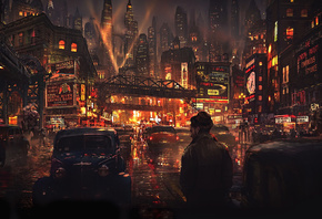 artwork, city, cyberpunk, город