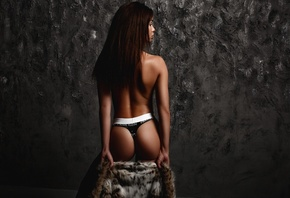 women, Artem Savinkov, ass, tanned, fur coats, wall, panties, Calvin Klein, back