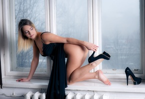 sensual, Angelica H, desire, breasts, black, seduction, blonde, shoe, half-naked, dress, butt