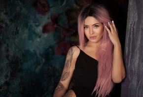 women, tanned, pink hair, dyed hair, tattoo, lip ring, monokinis, portrait, ...