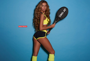 women, Evgenyi Demenev, tanned, curly hair, ass, tennis rackets, blue backg ...