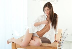 Shirt, Little Caprice, Tummy, Caprice, Breasts, Brunette, Legs, Belly