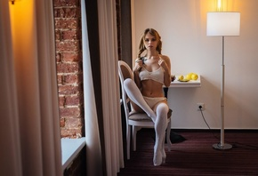 Anastasia Scheglova, women, blonde, pigtails, brunette, white stockings, chair, sitting, lemons, table, belly, tattoo, lamp, white clothing