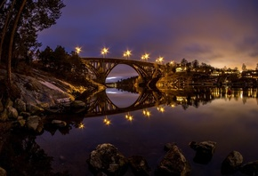 river, Sweden, Skurubron, night, reflection, bridge, lights
