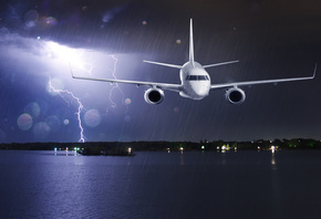 passenger, clouds, lightning, airplane, liner, shore, rain, lights, storm, sea, flight, night, glare