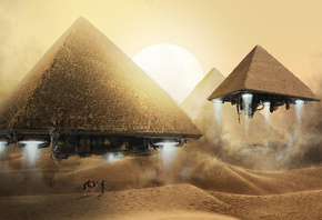 fly, camel, pyramid, art, bedouin, desert, sand, dunes, people, flight, fantasy, sun