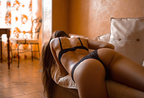 women, Grigoriy Lifin, tanned, ass, black lingerie, couch, lying on front,  ...