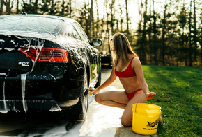 women, car washes, blonde, women with cars, women outdoors, belly, swimwear, brunette, grass, trees, red nails, red tops, bucket, soap, kneeling