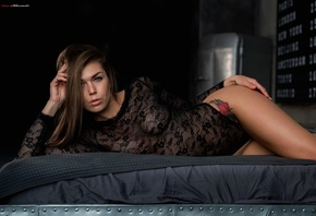 anna grace, women, tanned, tattoo, see-through clothing, body lingerie, bla ...