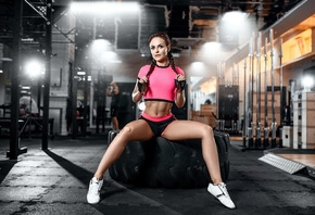 women, sportswear, gyms, tires, pigtails, belly, short shorts, sneakers, si ...