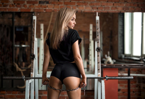 women, blonde, tanned, chains, short shorts, bricks, black clothing, mirror, back, ass