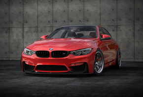 BMW, M4, tuning, stance, 2018 cars, f82, red