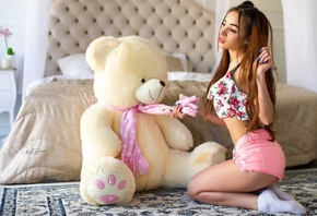 women, teddy bears, brunette, socks, jean shorts, bed, blue nails, pierced nose, pillow, pigtails