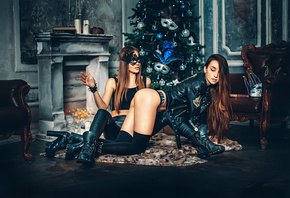 women, mask, ass, brunette, shoes, black stockings, leather jackets, long hair, sitting, Christmas tree, black clothing, two women