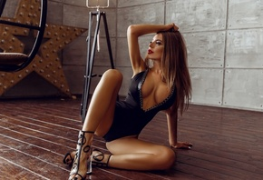women, tanned, blonde, high heels, cleavage, red lipstick, nipple through clothing, on the floor, armpits, wooden surface, body lingerie, white nails, sitting