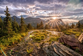 Glacier, National Park, mountains, trees, stones, sun rays, autumn