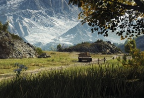 World of Tanks, grass, mountains