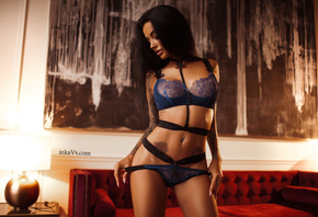 Anna Sajarova, women, portrait, tattoo, tanned, pink lipstick, pierced navel, blue lingerie, black hair, holding panties, lamp, belly, couch, lingerie, see-through clothing