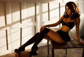 women, portrait, tanned, black stockings, belly, black lingerie, sitting, t ...