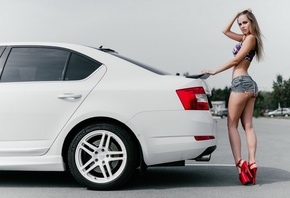 women, blonde, jean shorts, brunette, ass, sports bra, top, women with cars ...