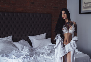 women, white lingerie, pillow, tanned, bellybricks, bed, black hair, portrait, long hair, wall