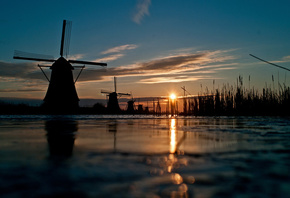 channel, windmill, the sun, the sky, grass, river, sunset