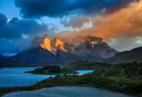 Chile, light, mountains, Patagonia, South America, lake, clouds, the sky, Andes