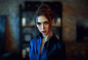 women, portrait, blue shirt, depth of field, face
