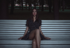 women, bench, sitting, trees, portrait, legs crossed, polka dots, pink nails