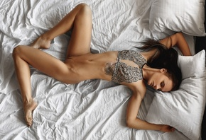 women, top view, tattoo, belly, closed eyes, lying on back, shaved pubic ha ...