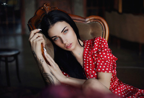 women, Dmitry Arhar, Alla Berger, polka dots, red dress, nose ring, tattoo, portrait, sitting