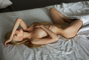 women, nude, blonde, ribs, in bed, closed eyes, belly, boobs, hands on boob ...