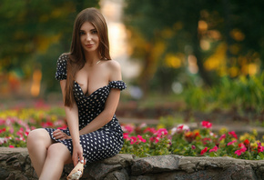 women, polka dots, dress, sitting, flowers, smiling, ice cream, boobs, brunette, portrait, white nails, depth of field