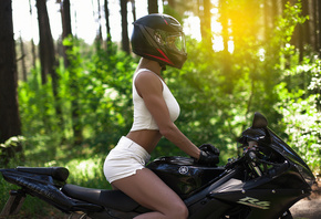 women, tanned, sitting, helmet, jean shorts, women with motorcycles, trees, ...
