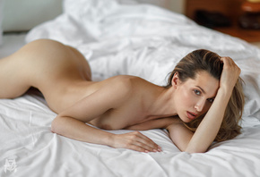women, Mihail Gerasimov, nude, ass, pink nails, in bed, portrait