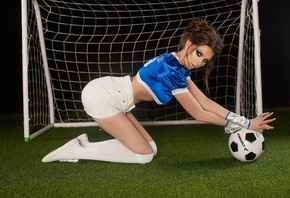 women, portrait, kneeling, white stockings, synthetic grass, ball, brunette ...