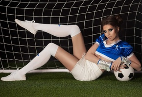 women, portrait, white stockings, synthetic grass, ball, brunette, hairbun, ...